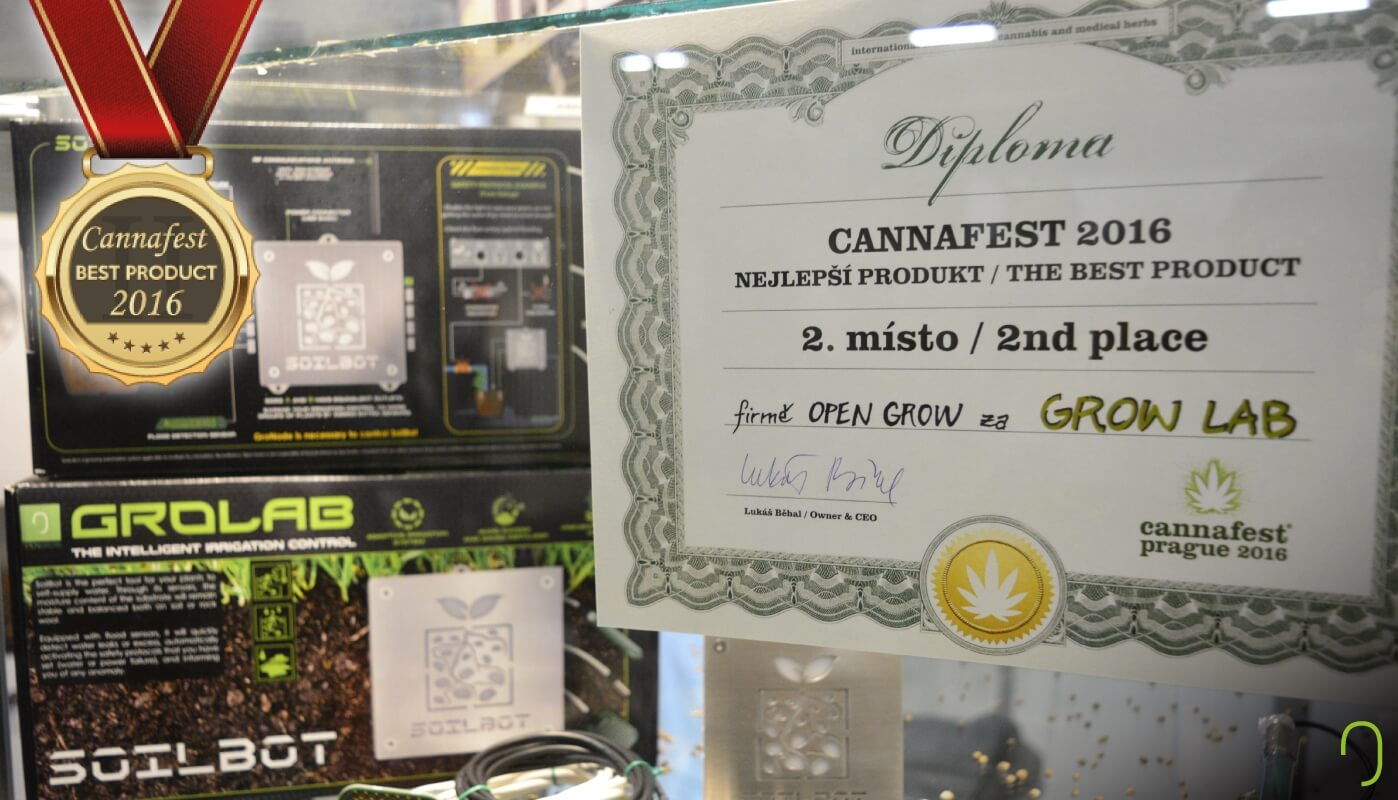 Open Grow™ stand at Cannafest Prague 2016, showing the 2nd place diploma prize that our main product, GroLab™, received at Cannafest 2016 best product contest