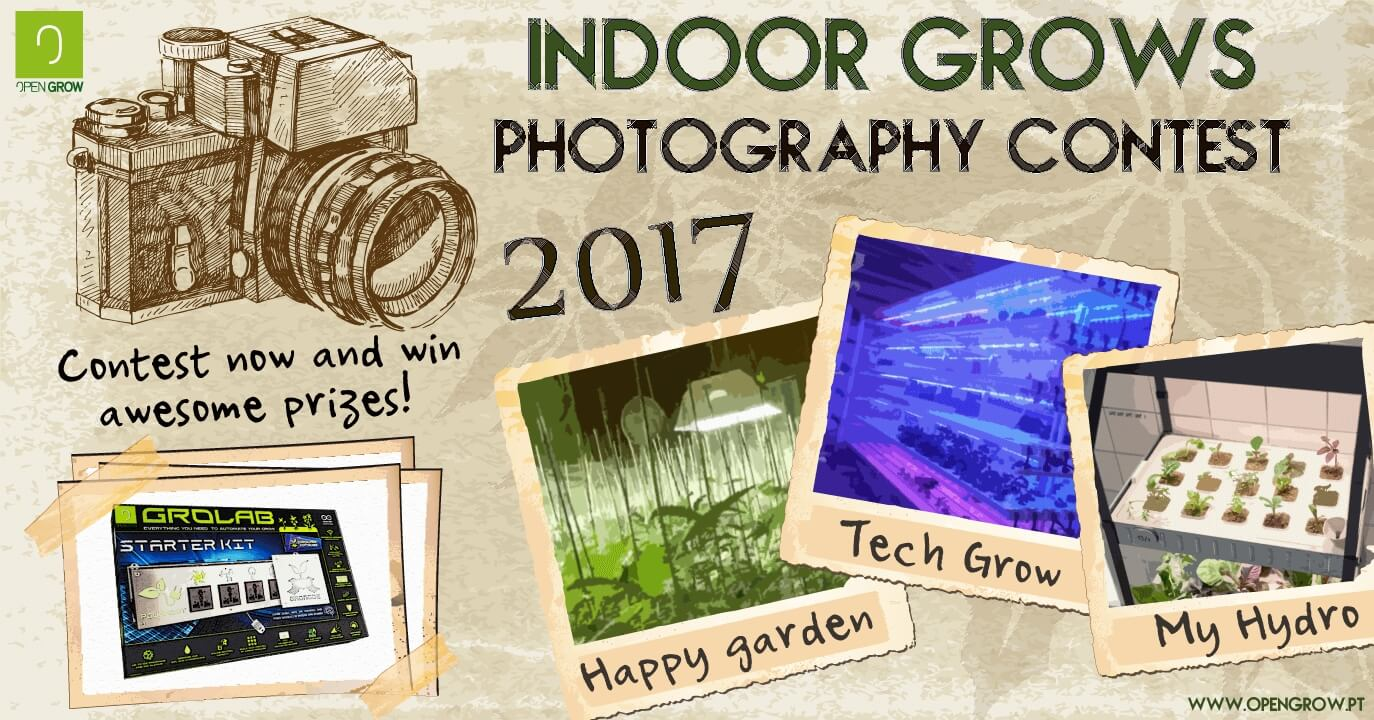 Open Grow™ 2017 annual indoor photography contest banner, showing some photo examples and the content prize (GroLab™ Starter Kit)