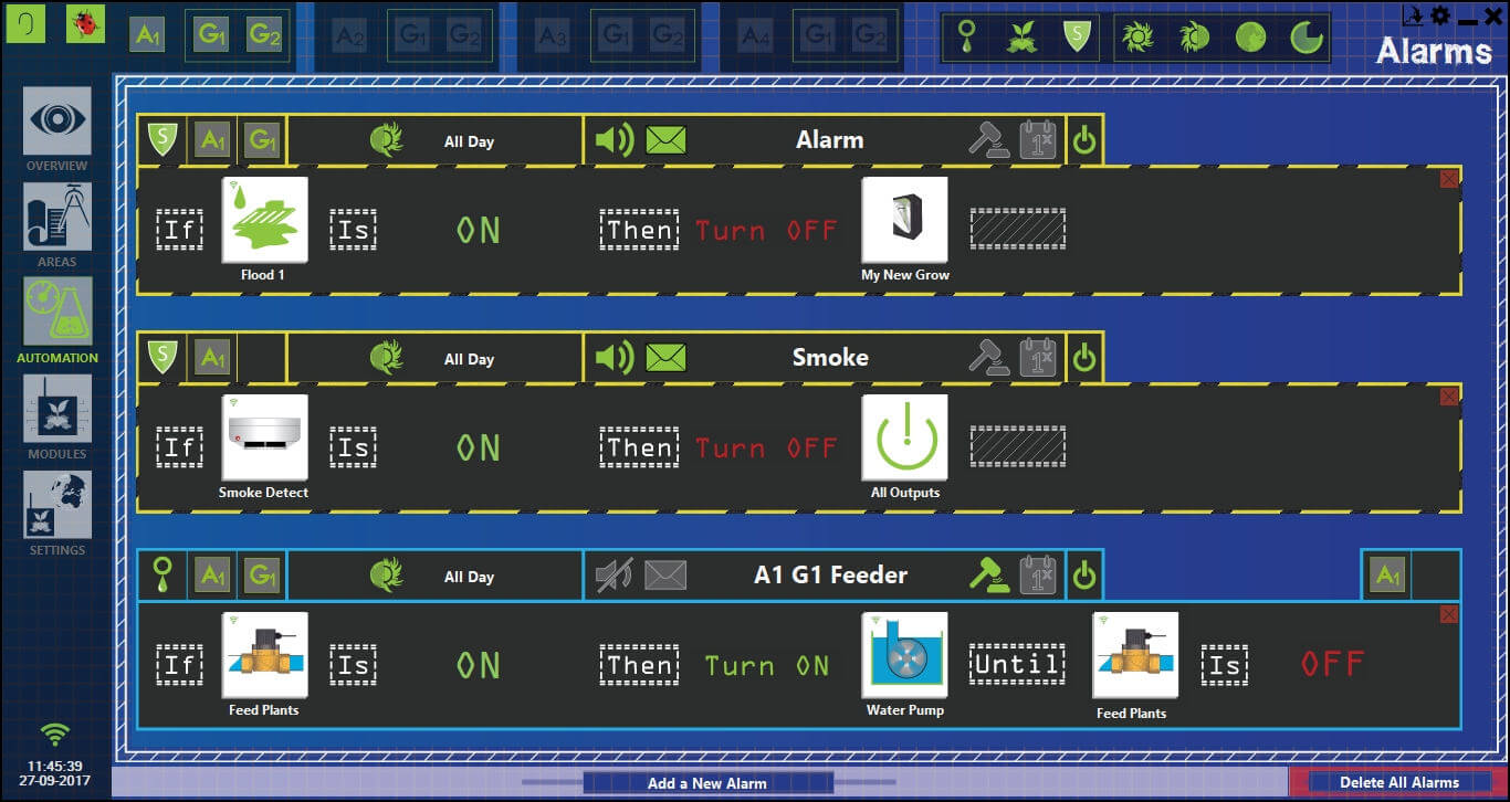 Alarms section from GroLab™ Software, it shows three alarms: one to shutdown grow devices in case of flood, one to shutdown all devices when detecting smoke, last one to turn on the water pump when the solenoid valve is on