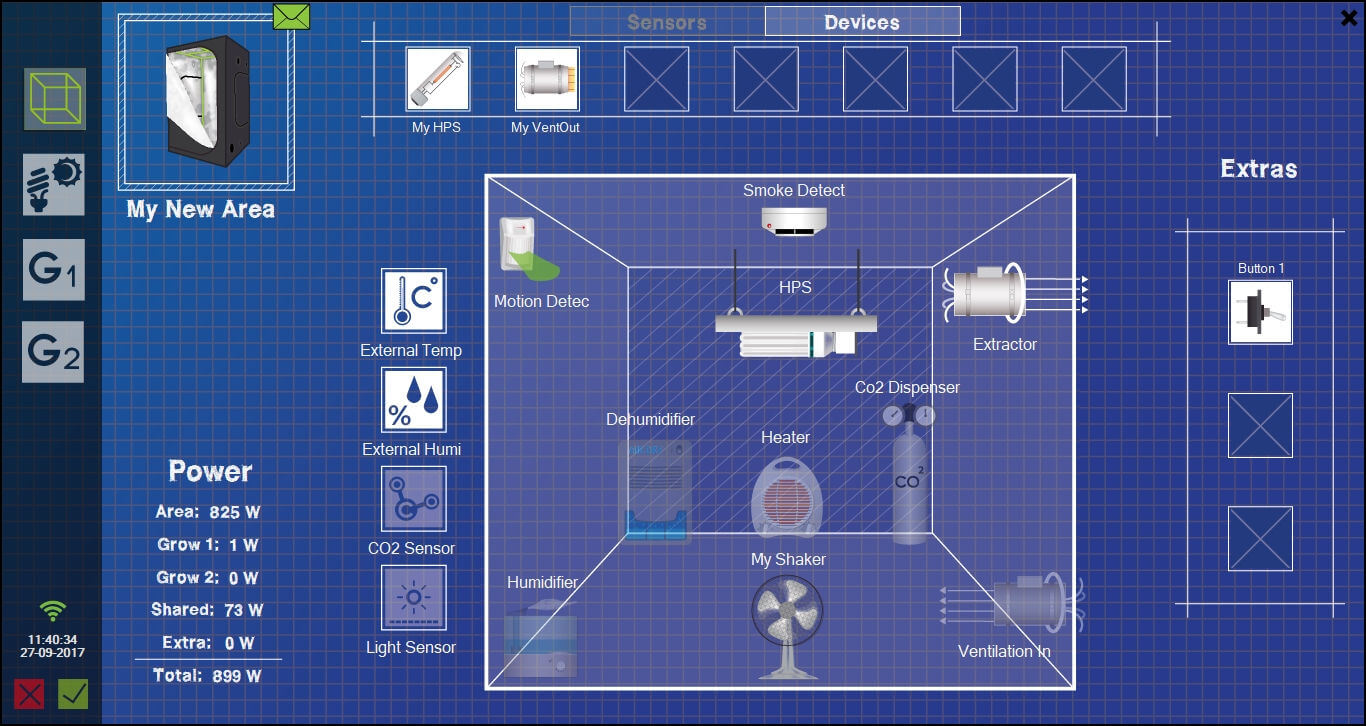 Creator and editor of growing areas from GroLab™ Software, it shows all allowed devices and sensors to drag-n-drop