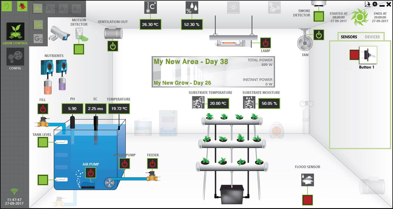 Areas and grows overview section from GroLab™ Software, showing all the devices and sensors information