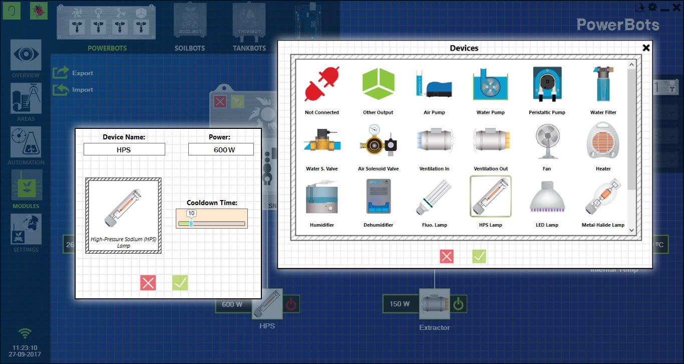 Modules section from GroLab™ Software, showing the configurations windows from one device that is connected to the PowerBot