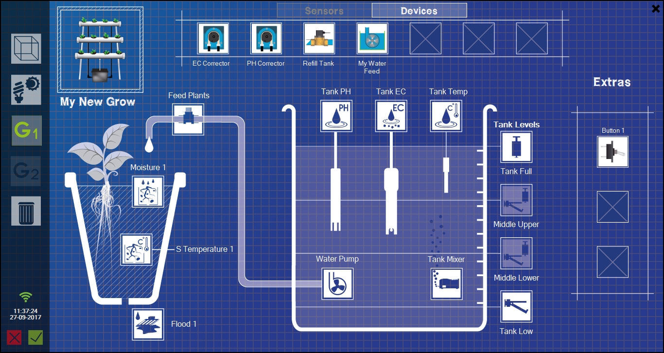 Creator and editor of grows from GroLab™ Software, it shows all allowed devices and sensors to drag-n-drop