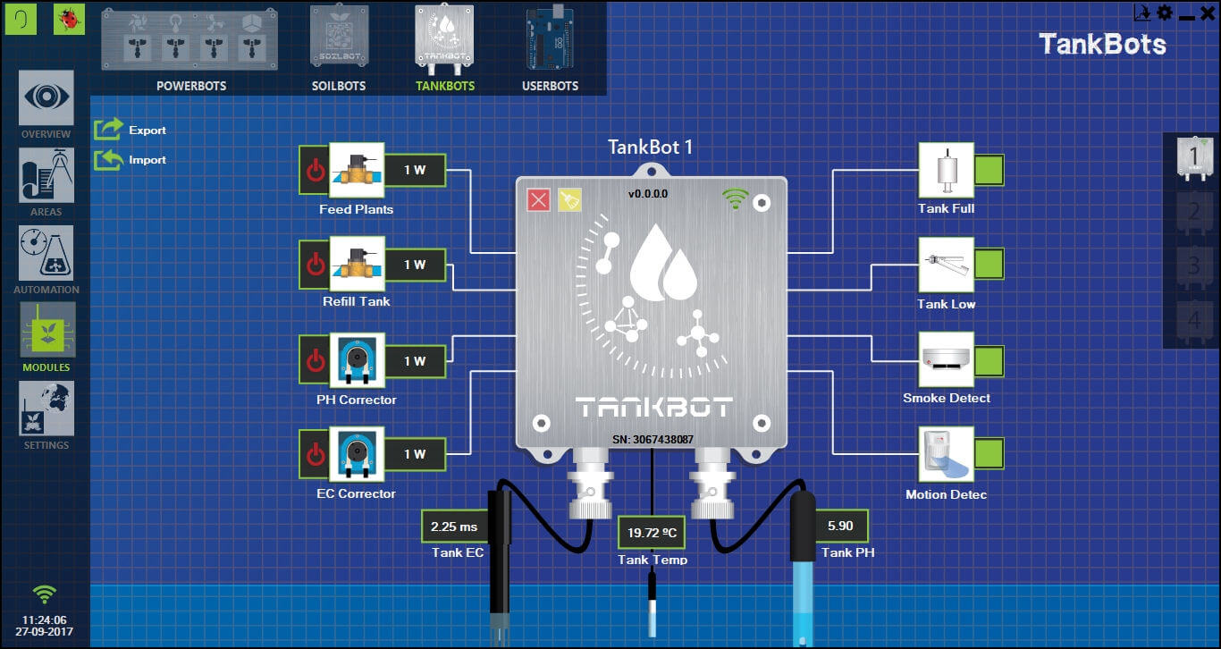 Modules section from GroLab™ Software, showing the TankBot and all the devices/sensors configured on it