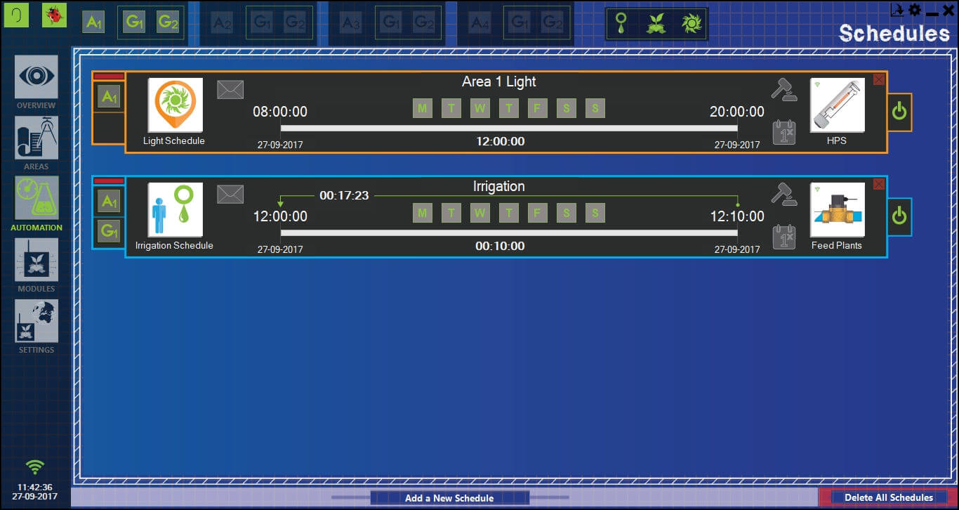Schedules section from GroLab™ Software, it shows two schedules: one to turn on the light from 8am until 8pm and another one to turn on the solenoid valve for 10 minutes with a recurrence of 30 minutes