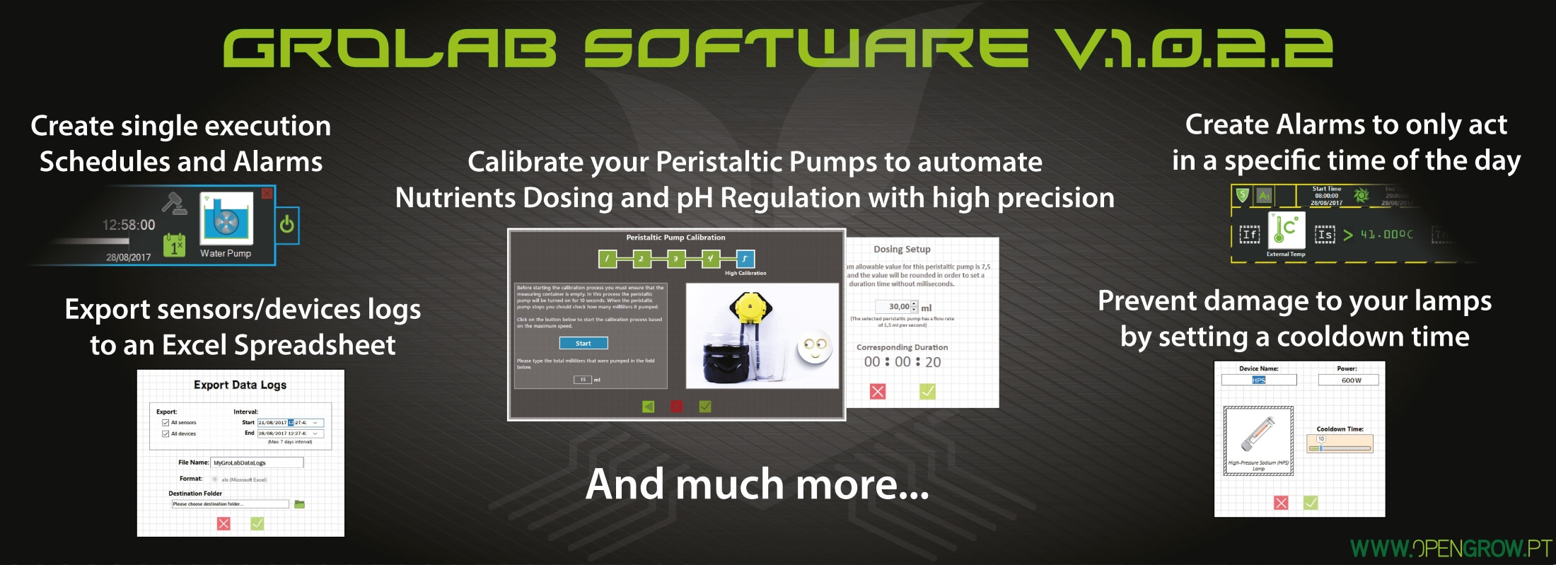 GroLab™ Software v1.0.2.2 update highlights - custom time, day, night alarms operation modes; peristaltic calibration, improving nutrients dosing and pH correction; export sensors and devices logs to file; customizable cooldown time to prevent damage to sensitive devices (lamps).