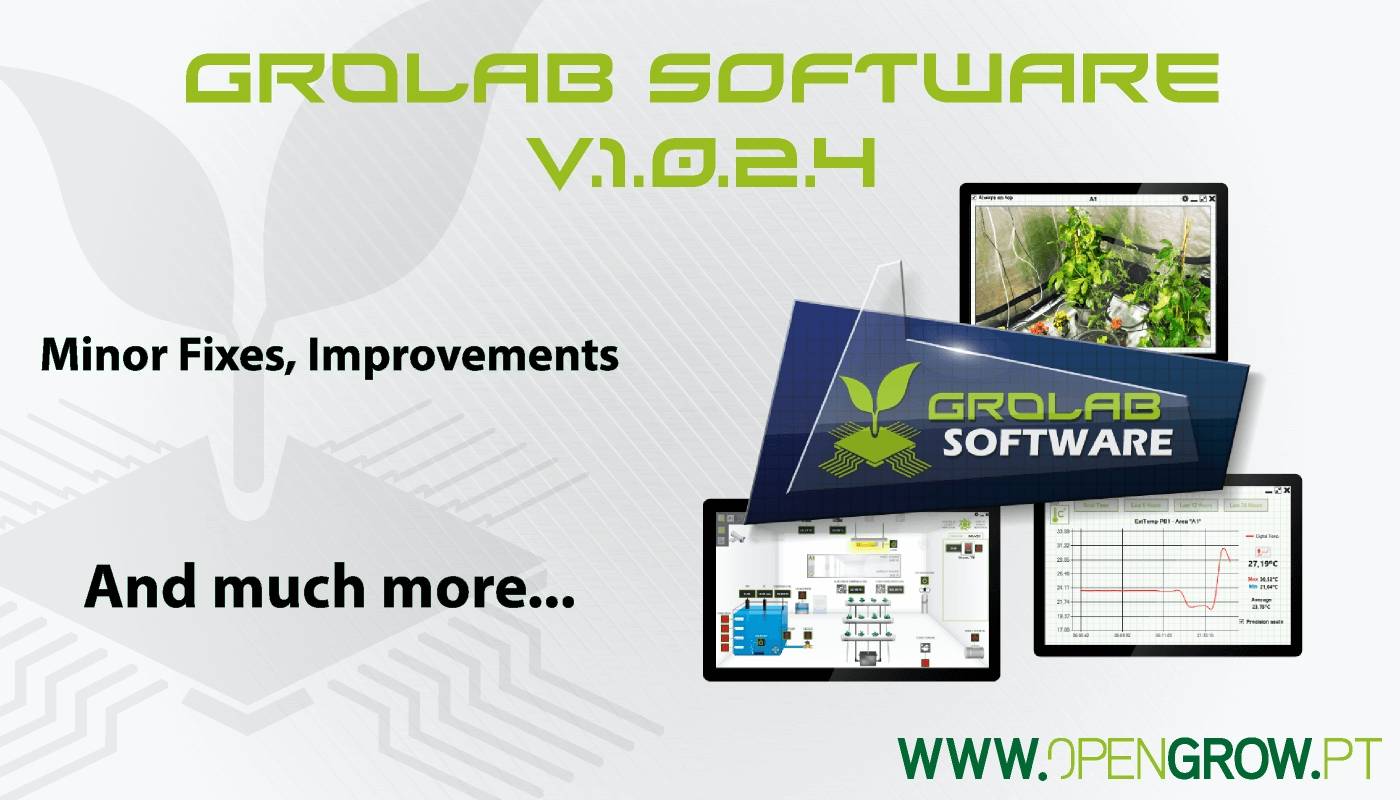 GroLab™ Software v1.0.2.4 update highlights banner - Minor fixes, improvements and much more...