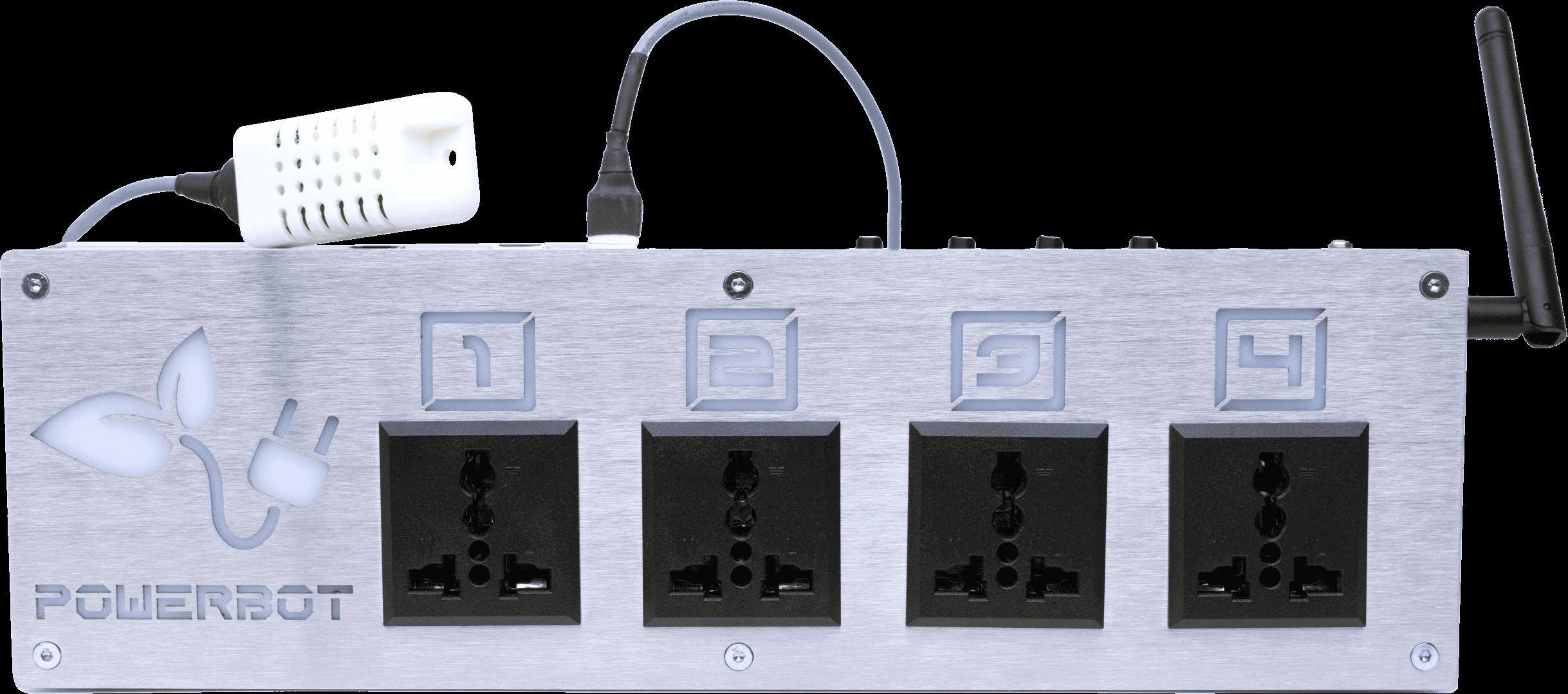 Vista frontal do PowerBot, o módulo fornecedor de energia com controlo ambiental do controlador agrícola GroLab™