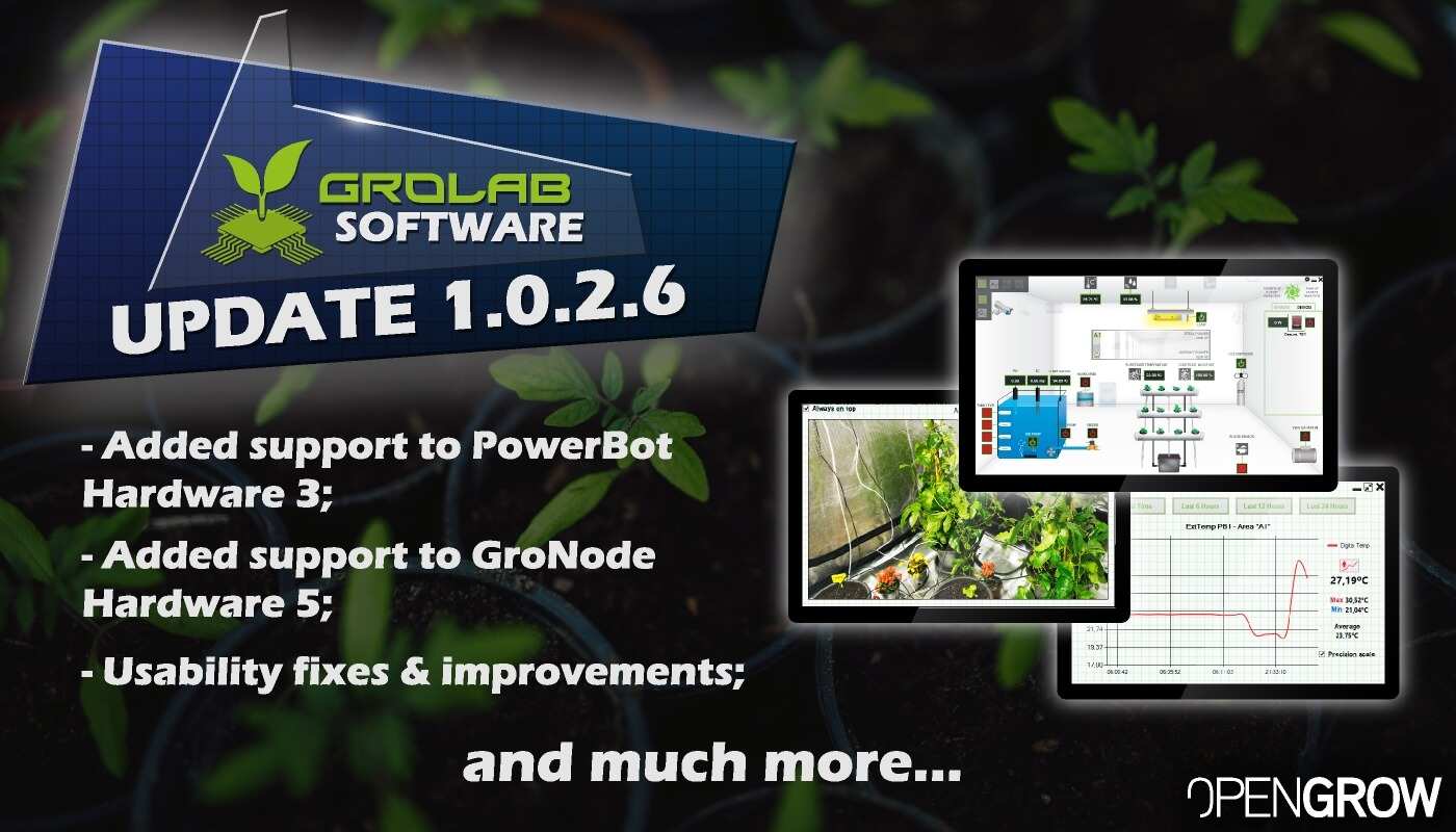 GroLab™ Software v1.0.2.6 update highlights banner - Added support to PowerBot Hardware 3; - Added support to GroNode Hardware 5; - Usability fixes and improvements...