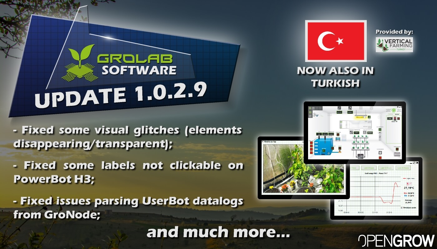 GroLab™ Software v1.0.2.9 update highlights banner - Added the Turkish language; - Fixed some visual glitches; - Fixed some labels not clickable on PowerBot H3; Fixed issues parsing UserBot data logs from GroNode...