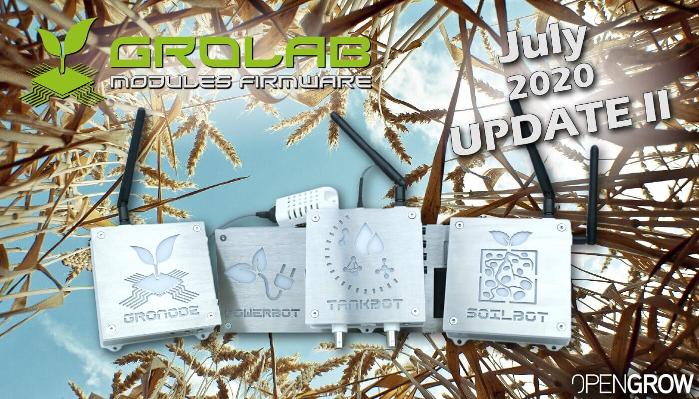 GroLab Modules Firmware July 2020 Second Update - GroNode and PowerBot.